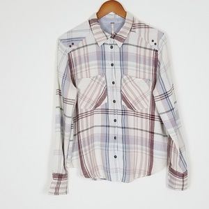Free People Wesley Plaid Button Down Top XS